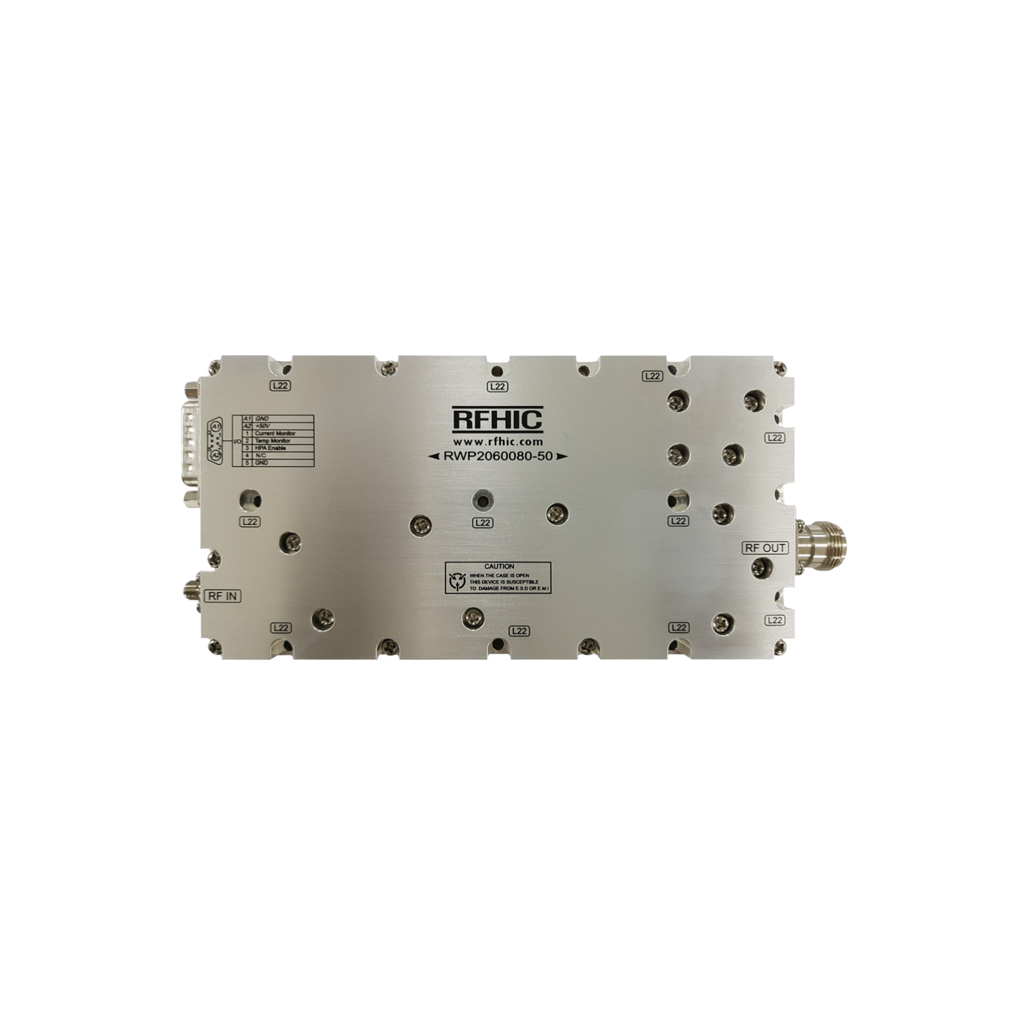 RWP2060080-50, 100W, 2-6GHz, GaN Wideband Amplifier-RFHIC